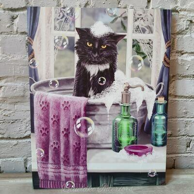 Black Cat Bath Time Canvas Picture by Lisa Parker
