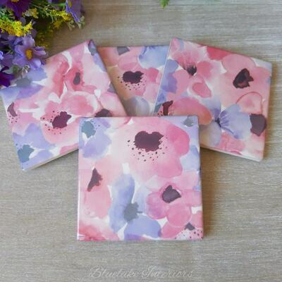 Set of 4 Ceramic Poppy Design Coasters