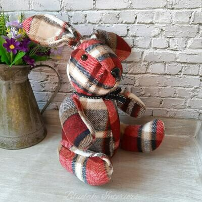 Red Tartan Checked Country Fabric Sitting Rabbit Doorstop