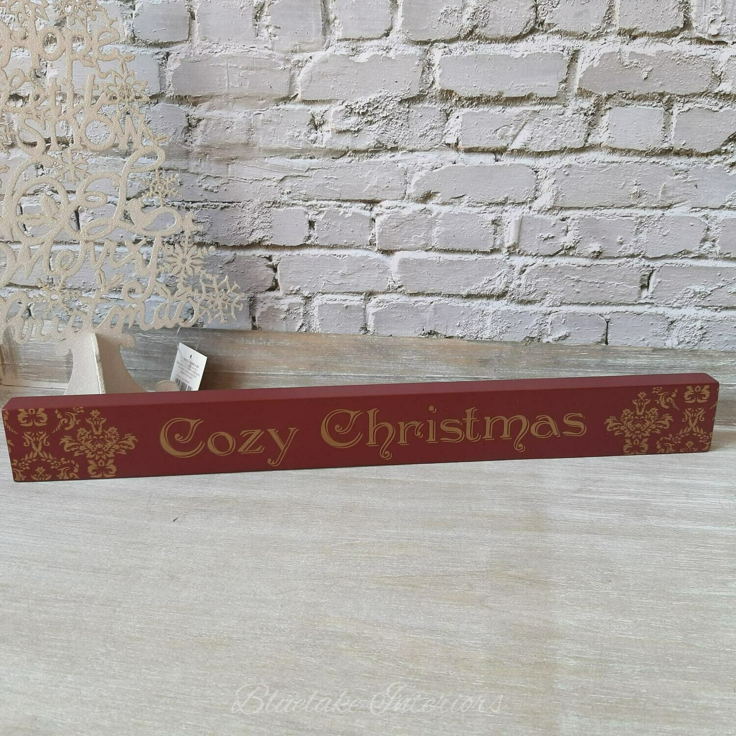 Red & Gold Cozy Christmas Freestanding Plaque