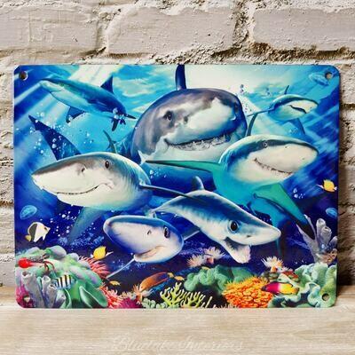 Sea Life Shark Selfie Metal Wall Sign