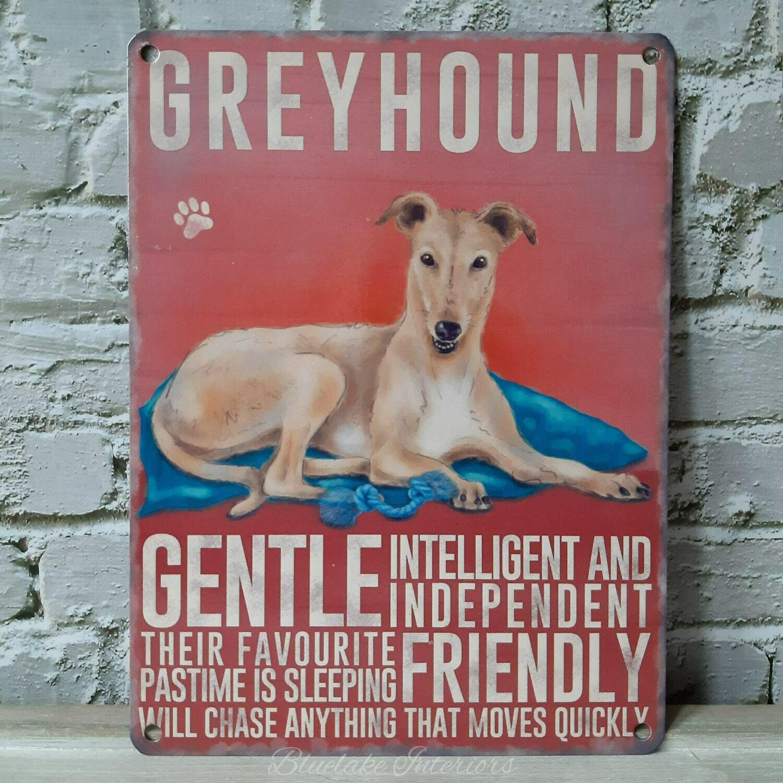 Tan Greyhound Metal Wall Sign