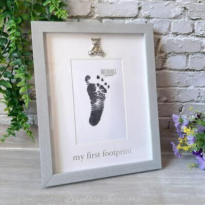 Soft Grey Framed My First Footprint Baby Photo Frame With Silver Teddy Bear