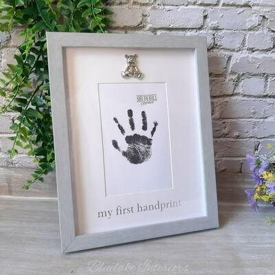 Soft Grey Framed My First Handprint Baby Photo Frame With Silver Teddy Bear