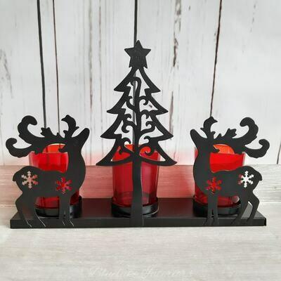 Christmas Reindeer Triple Tealight Black & Red Candle Holder