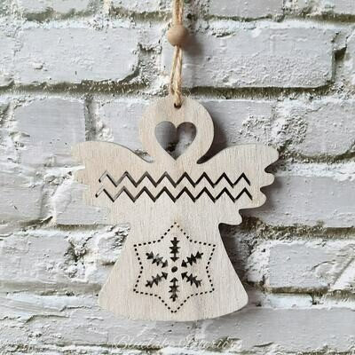Small Hanging Christmas Angel Natural Wooden Decoration