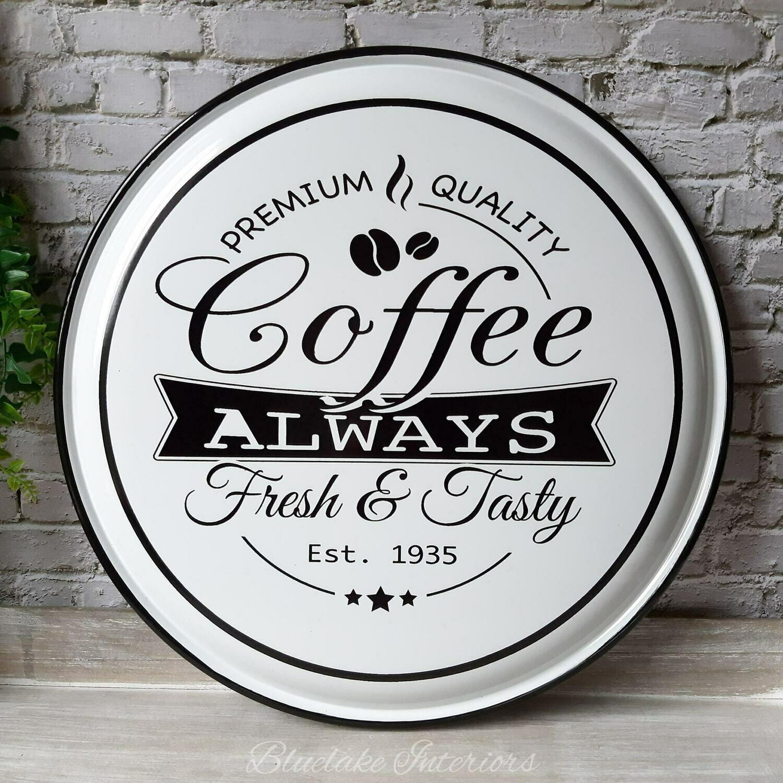 Premium Quality Coffee Large Enamel Round Wall Plaque