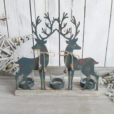 Christmas Metal Reindeer Triple Tealight Candle Holder