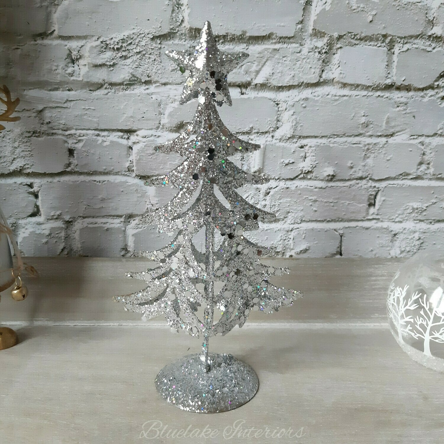 Small Sparkly Silver Freestanding Christmas Tree