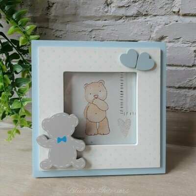Tiny Ted Polka Dot  Blue Photo Frame Nursery Christening New Baby Gift