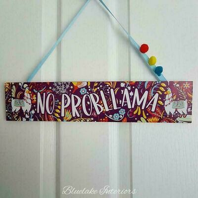 Bright Colourful & Funky No Probllama Wall Plaque Pom Poms