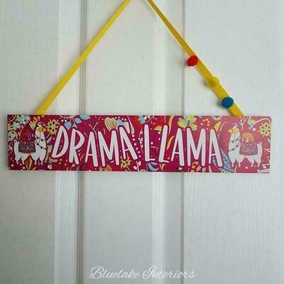 Bright Colourful & Funky Drama Llama Wall Plaque Pom Poms
