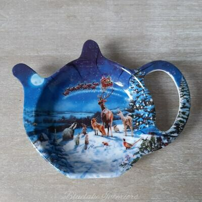 The Magic Of Christmas Winter Scene Santa Sleigh & Wildlife Tea Bag Tidy