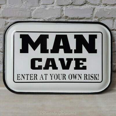 Man Cave Enter At Your Own Risk!  Vintage Style Enamel Wall Plaque