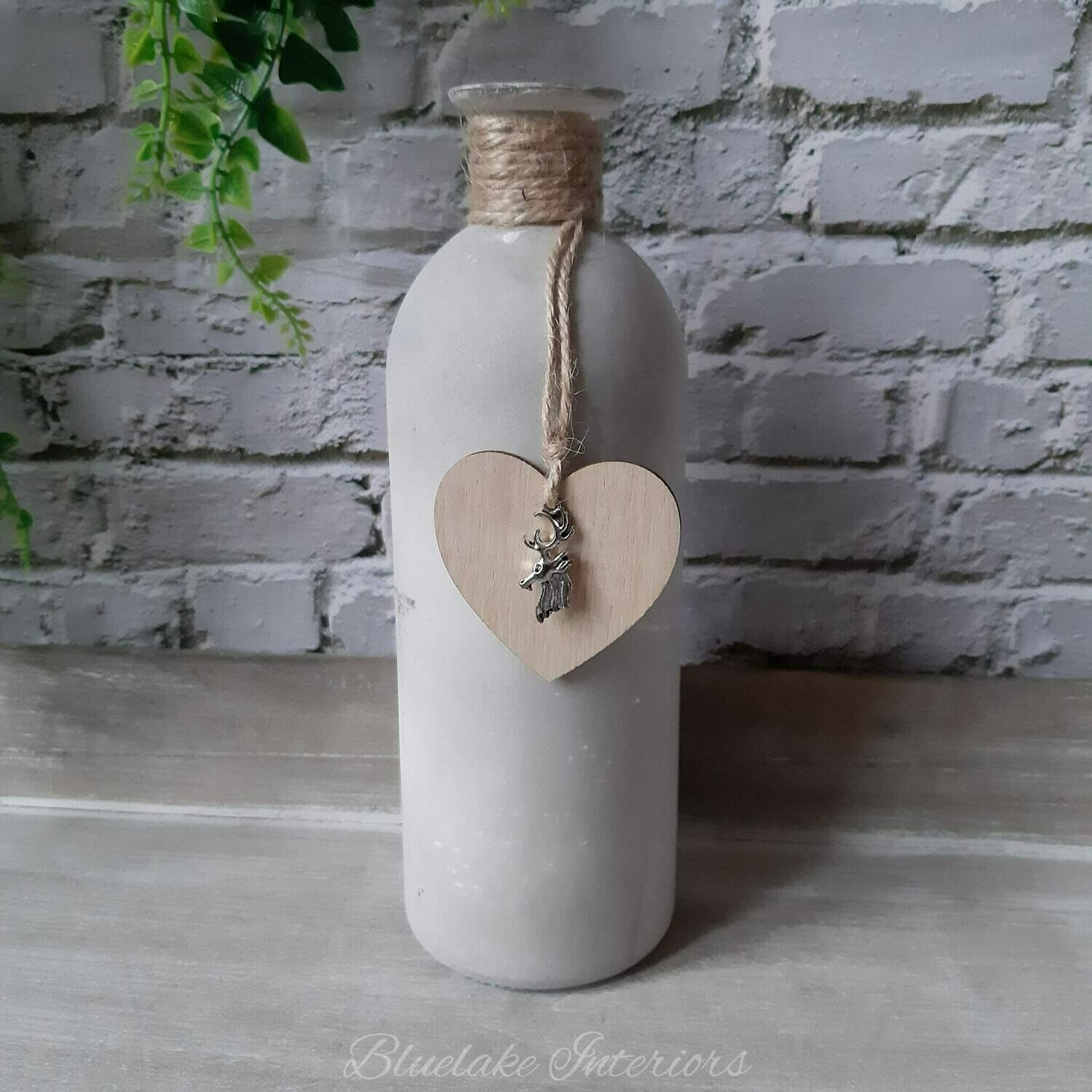 Cement Effect Rustic Glass Bottle With Heart & Stag Detail