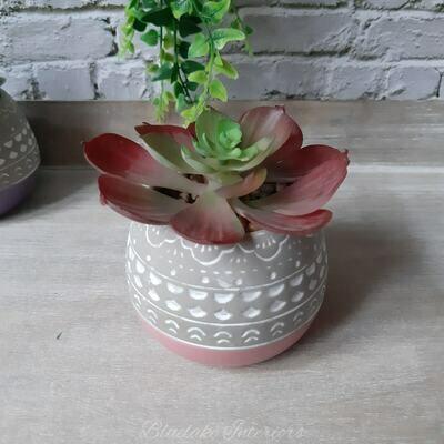 Artificial Succulent Plant In A Grey & Pink Ceramic Pot