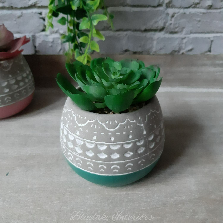Artificial Succulent Plant In A Grey & Green Ceramic Pot
