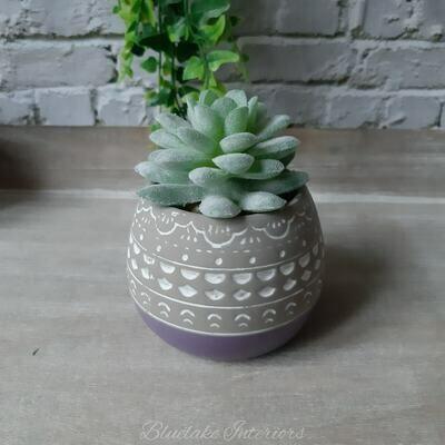 Artificial Succulent Plant In A Grey & Purple Ceramic Pot