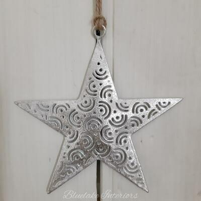 Tarnished Finish Silver Hanging Star Decoration