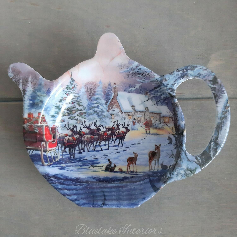 The Magic Of Christmas Tea Bag Holder Santa & Sleigh Winter Scene Design