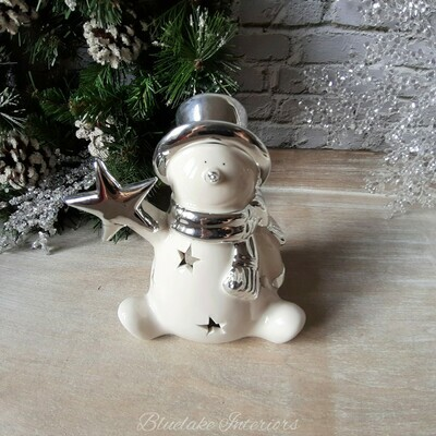 White & Silver Ceramic Christmas Snowman Light Up Ornament With Stars