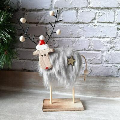 Soft Shades Grey Furry Reindeer Christmas Decoration