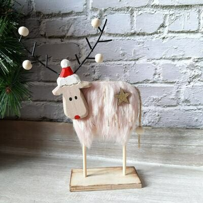 Soft Shades Pink Furry Reindeer Christmas Decoration