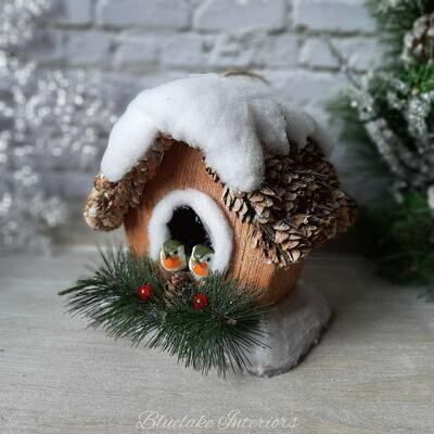 Snowy Pine Decorative Christmas Birdhouse