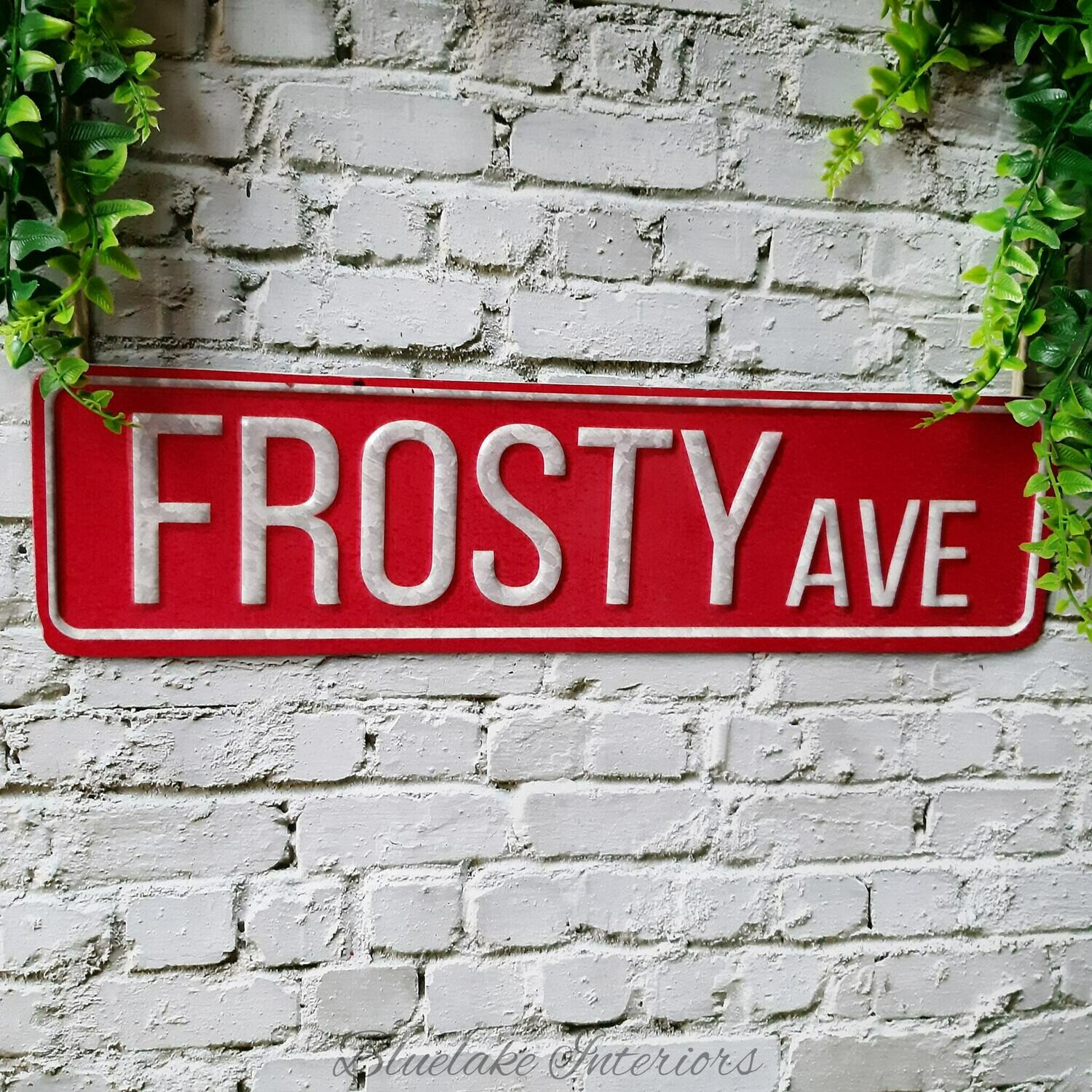 Frosty Ave Red Metal Vintage Style Christmas Wall Plaque