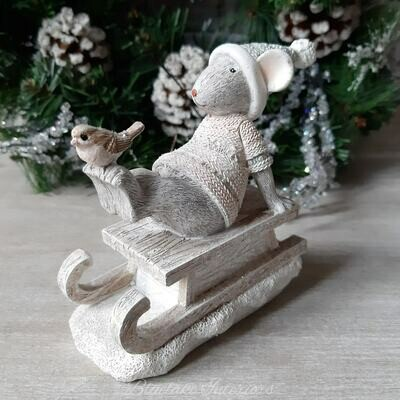 Adorable Christmas Mouse On Sledge With A Bird Ornament
