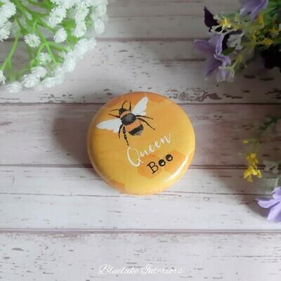 Queen Bee Yellow Honeycomb Design Compact Mirror