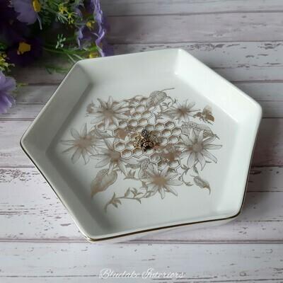 Honeycomb & Bee Design Jewellery Trinket Dish
