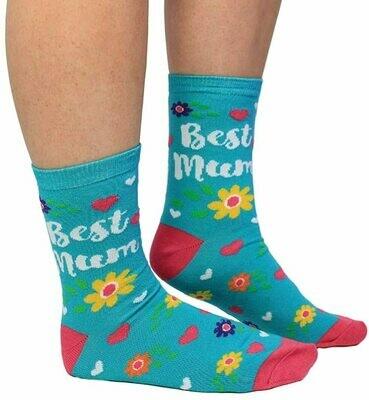 Best Mum Blue Socks Flowers & Hearts by Cockney Spaniel