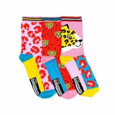 Ladies Lana Cheetah Design United Oddsocks Set of 3 Feline Themed Odd Socks