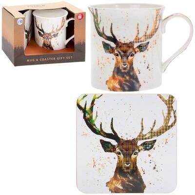 Rustic Country Stag Mug & Coaster Gift Set