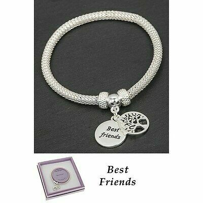 Equilibrium Silver Plated Mesh Tree of Life Best Friends Bracelet Gift Boxed