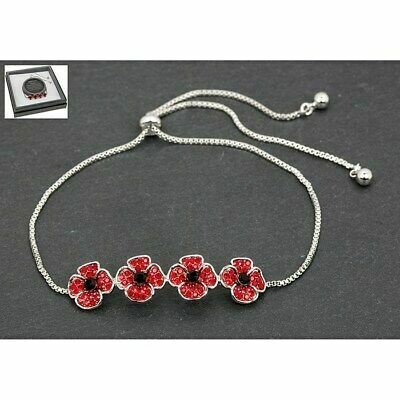 Equilibrium Delicate Pretty Silver Plated Poppy Friendship Bracelet Gift Boxed