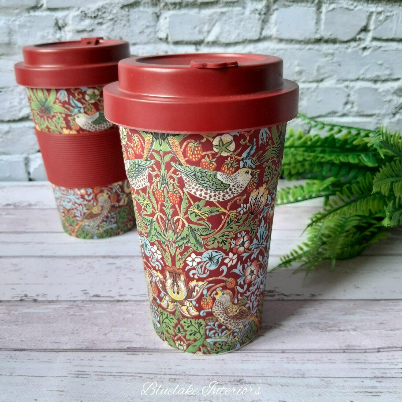 William Morris Strawberry Thief Red Travel Mug