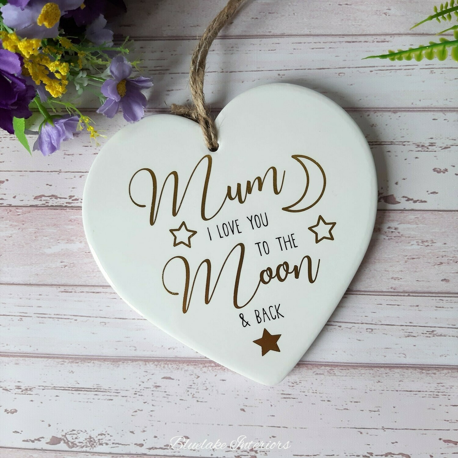 Mum I Love You To The Moon And Back Ceramic Hanging Heart