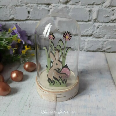Rustic Wooden Easter Bunny With Pink Spotted Egg In A Glass Dome
