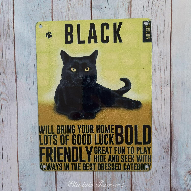 Black Cat Metal Wall Sign