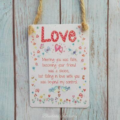 Mini Metal Love Sentiment Hanging Sign