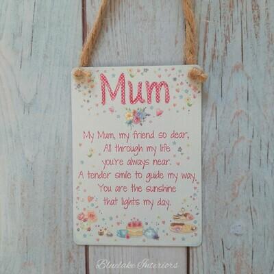 Mini Metal Mum Sentiment Hanging Sign