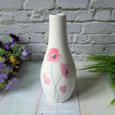 Pretty Pink & Lilac Small Poppy Design Ceramic Bud Vase
