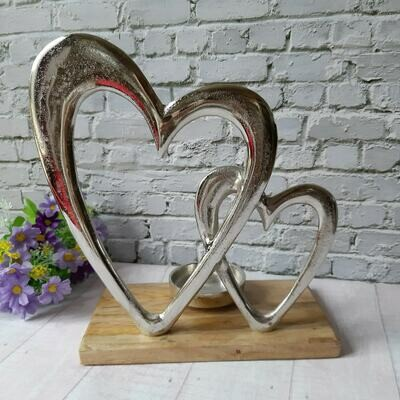Silver Double Heart Candle Holder With Mango Wooden Base
