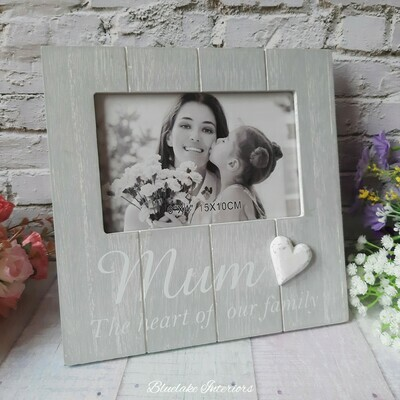"""Mum The Heart Of Our Family Soft Grey Photo Frame 6""""x4"""""""