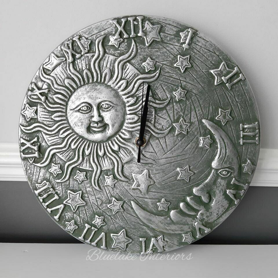 Silver Effect Terracotta Sun & Moon Round Wall Clock