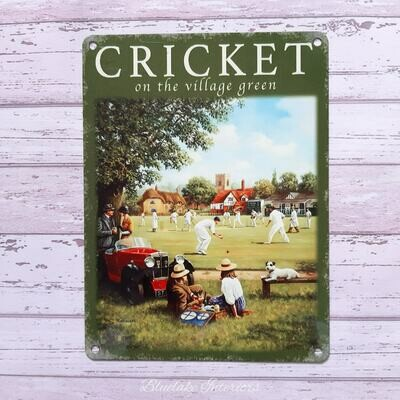 Cricket On the Village Green Metal Wall Sign Country Life
