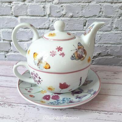 Gorgeous Butterfly Garden Tea For One Teapot Cup & Saucer Gift Set