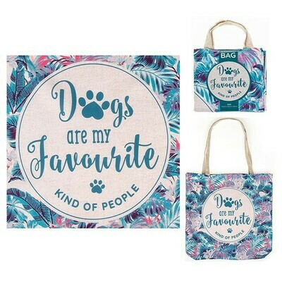 Dogs Are My Favourite Kind Of People Linen Mix Shopping Tote Reusable Eco Bag
